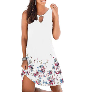 New Women Print Sleeveless Hollow-out Round Neck Dress