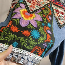 Load image into Gallery viewer, Bohemian Back Embroidery Fold-over Collar Jeans Jacket Long Sleeve Coat