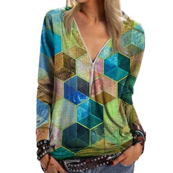 Street Hipsters Geometric Rubik's Cube Printing V-neck Zipper Shirt Long Sleeve T-shirt Women