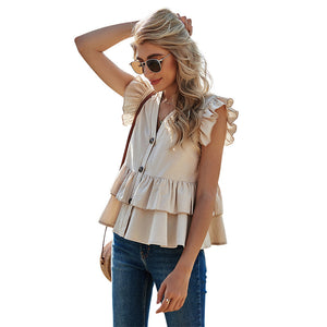 Solid Casual Single-row Button-down Shirt Female V-neck Women's Top