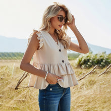 Load image into Gallery viewer, Solid Casual Single-row Button-down Shirt Female V-neck Women's Top