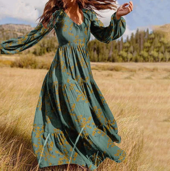 Presale Loose and Irregular Patchwork Bohemian Swing Long Dress