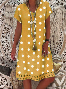 Boho Women Polka Dot Print Short Sleeve V-neck Fashion Dresses