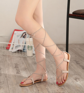 Roman Multiple Cross-Strap tall knee high Bondage Sandals