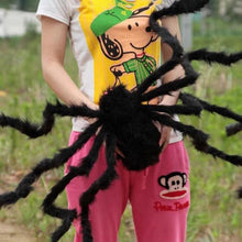 Load image into Gallery viewer, Black Plush Spider Halloween Decoration Tricky Toy