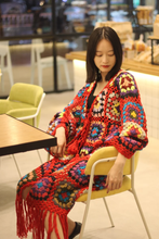 Load image into Gallery viewer, Handmade Hippie Weave Flower Hollow Tassel Sweater Cardigan