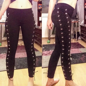 Fall Casual Gothic Office Lady Punk Style Women Plain Thin Straight Black Leggings
