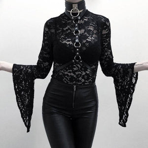 Woman Black Goth Sexy Lace Bodysuit Rompers A Line Skirt Suspender Lace Up See Through Club Wear