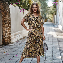 Load image into Gallery viewer, Sexy V Neck Buttons Leoprad Print Short Sleeve High Waist Summer Maxi Dress