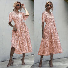Load image into Gallery viewer, Casual V Neck Women Boho Style Summer Beach Long Dress