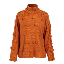 Load image into Gallery viewer, Solid Color Turtleneck Knitted Pullover Sweater