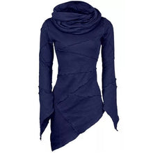 Load image into Gallery viewer, Stylish Bar Women Slim Turtleneck Blouse Scarf Collar Asymmetric Sleeves Skew Hem Tops
