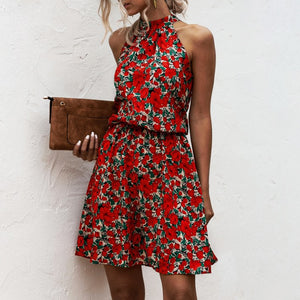 Summer Sexy Halter Lace Up Floral Sleeveless Print Mini Dress