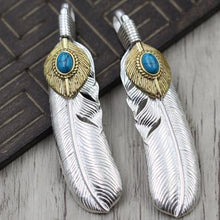 Load image into Gallery viewer, Indian Feather Sun Pendants Sterling Sliver Necklaces Accessories