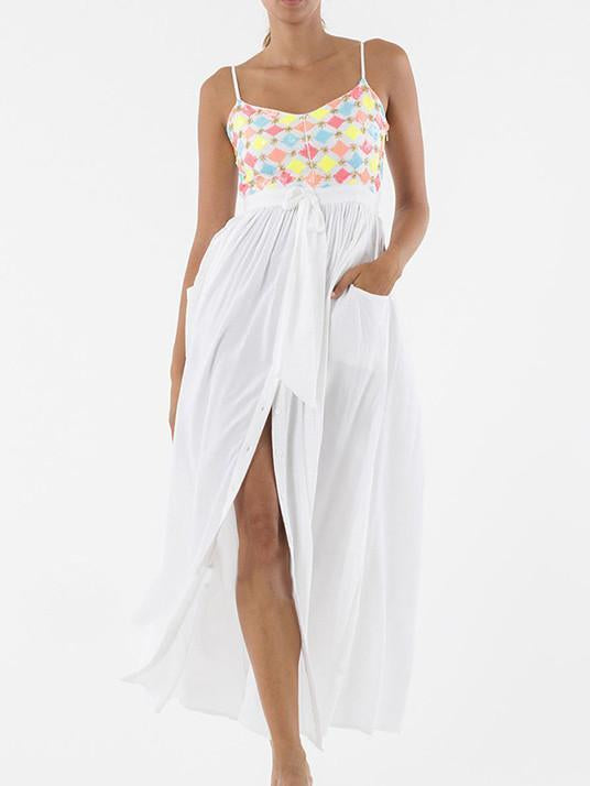 Pretty Sexy Straps V Neck Waisted Lace-Up Beach Vacation Maxi Dress