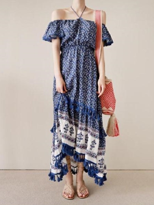 Bohemian Tassel Off The Shoulder Dress Floral Print Maxi Hippie Long Dress
