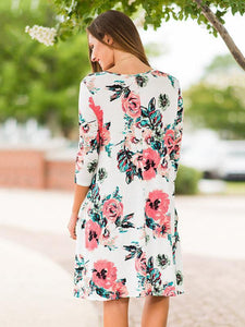 Beautiful Floral Three Quarter Sleeve Mini Dress