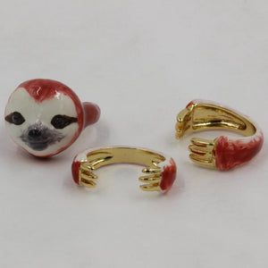 Colorful Sloth Design 3 Pieces Enamel Rings Sets