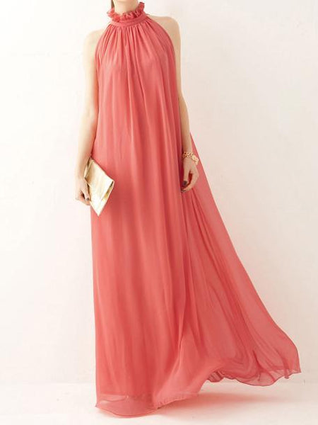 Halter Chiffon Bohemia Maxi Long Party Dress