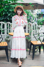 Load image into Gallery viewer, Floral Embroidered Hippie White Long Sleeve Pompom Maxi Dress