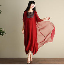 Load image into Gallery viewer, Embroidered Loose Casual Linen Cotton Maxi Dress