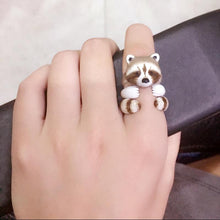 Load image into Gallery viewer, Adorable Raccoon Design 3 Pieces Enamel Rings Sets