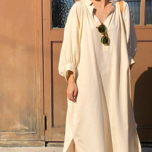 Three-color casual loose lazy style shirt dress