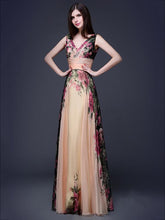 Load image into Gallery viewer, Printed Sleeveless Floor Evening Dress