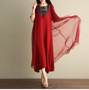 Embroidered Loose Casual Linen Cotton Maxi Dress