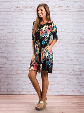 Load image into Gallery viewer, Beautiful Floral Three Quarter Sleeve Mini Dress