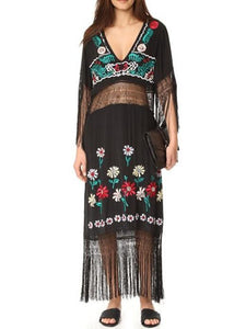 Pretty Sexy Inwrought Hollow V Neck Lace-Up Tassels Half Sleeve Midi Dress