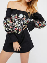 Load image into Gallery viewer, Pretty Sweety Flower Inwrought Long Sleeve Off-Shoulder Mini Dress