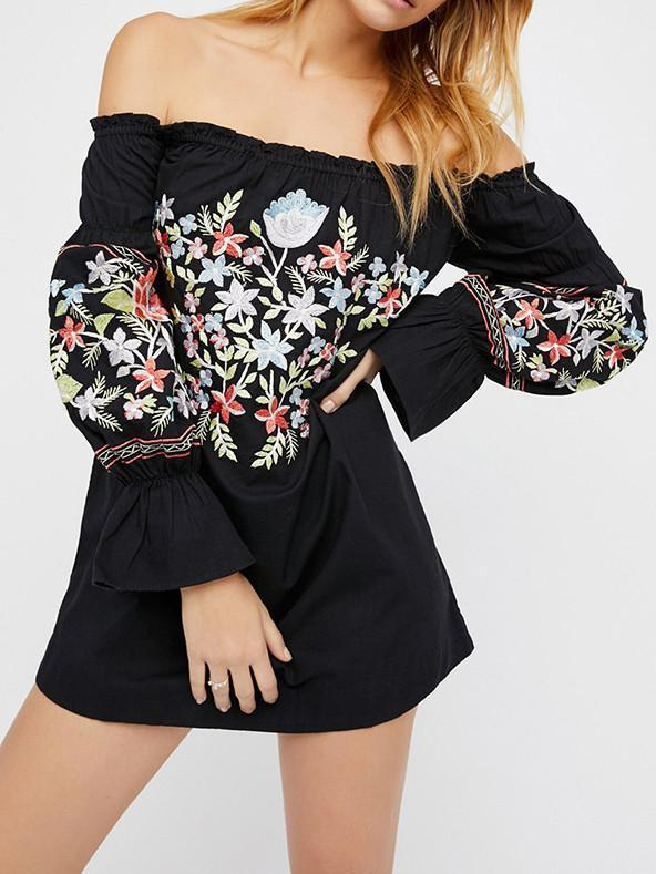 Pretty Sweety Flower Inwrought Long Sleeve Off-Shoulder Mini Dress