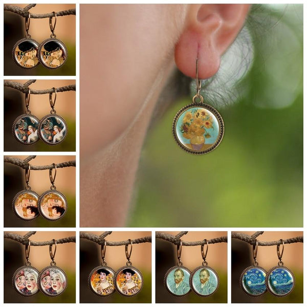 Retro Oil Painting Earrings