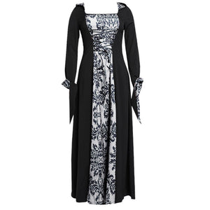 Vintage Dress Women Gothic Long Sleeve Hooded Maxi Dress Long Gown Party Dresses Loose Square Collar robe femme Plus Size