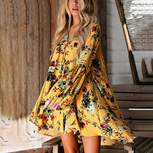 Load image into Gallery viewer, Flower Print V Neck Long Sleeve Bohemia Mini Dress