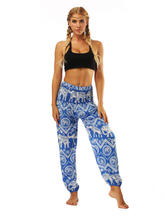Load image into Gallery viewer, National Style Nepal dot seaside loose wide-legged casual pants fitness exercise yoga lantern pants women 5