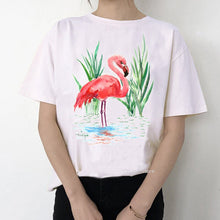 Load image into Gallery viewer, Women Summer Vintage Watercolor Flamingo Animal Printed T-shirt