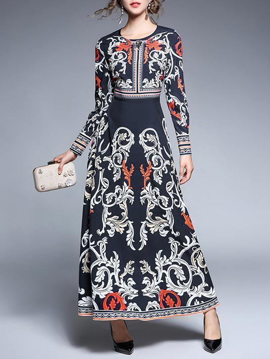 Blue Bohemia Printed Round-neck Long Sleeves Maxi Dress