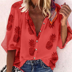 Women Blouse Sexy V-Neck Tops Pineapple Printed Shirts