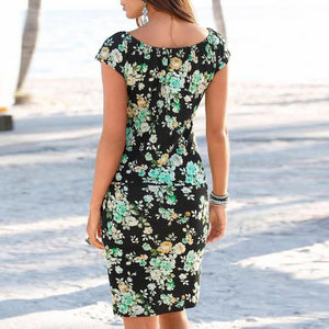 Women Knee Length Elegant Dress Tied V Neck Short Sleeve Floral Print Shift Mini Dress