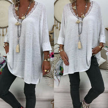Load image into Gallery viewer, Women Long Sleeve T Shirt Casual Loose Lace Neck Baggy Top