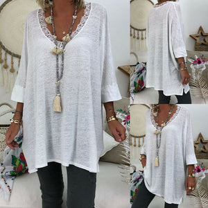 Women Long Sleeve T Shirt Casual Loose Lace Neck Baggy Top