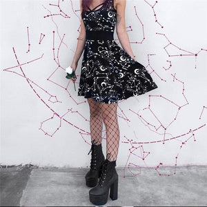 Halloween Sleeveless Gothic Style Street Punk Cosplay Black Retro Moon Printed Mini Dress