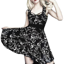 Load image into Gallery viewer, Halloween Sleeveless Gothic Style Street Punk Cosplay Black Retro Moon Printed Mini Dress