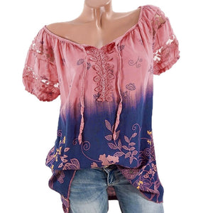 Womens Lace Blouses Summer Short Sleeve Tops Loose Shirt