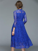 Load image into Gallery viewer, Lace Hollow Waisted Midi Evening Dress