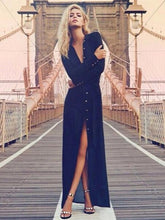 Load image into Gallery viewer, Pretty Chiffon Front Split with Button Long Sleeve Maxi Dress