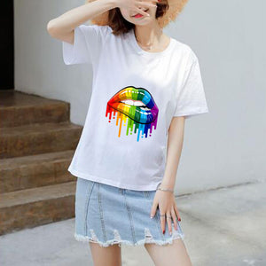 Summer Casual Sexy Color Lip Gloss Short-Sleeved Fashion Round Neck Cotton T-shirt