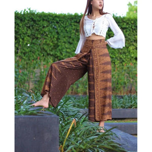 Ethnic style elegant split wide leg pants women loose fitness yoga pants-2